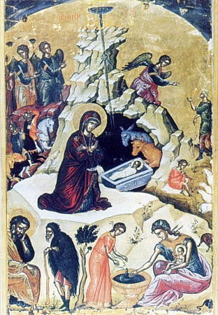 Russian icon of the Nativity. The Star of Bethlehem is depicted at the center top as a dark semicircle, with a single ray coming down. Nativity Icon.jpg
