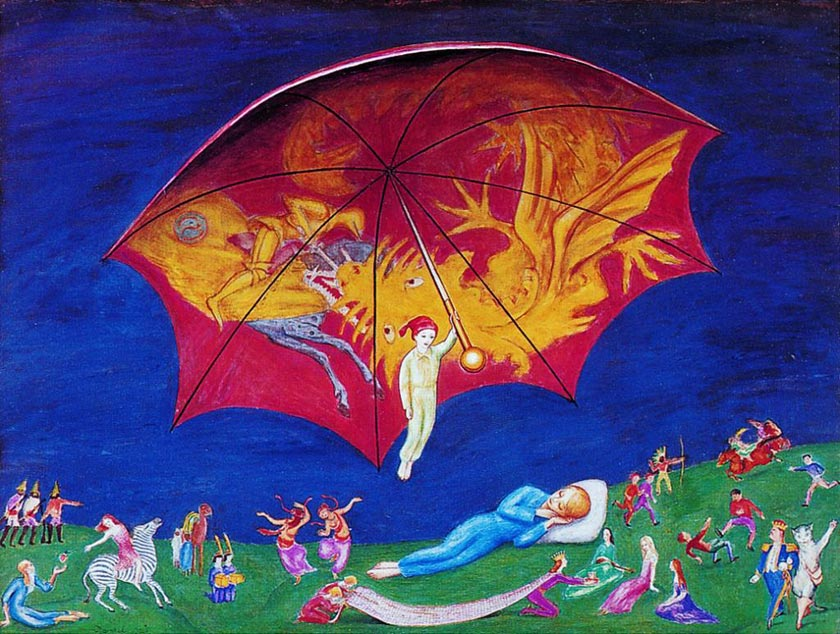 An image of the Sandman holding a brightly coloured umbrella over a sleeping child.