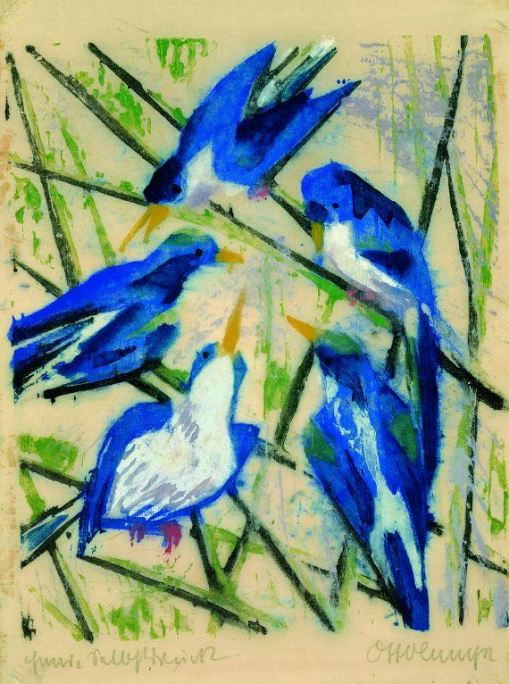 ''Blue birds'', 1916. Colour woodcut
