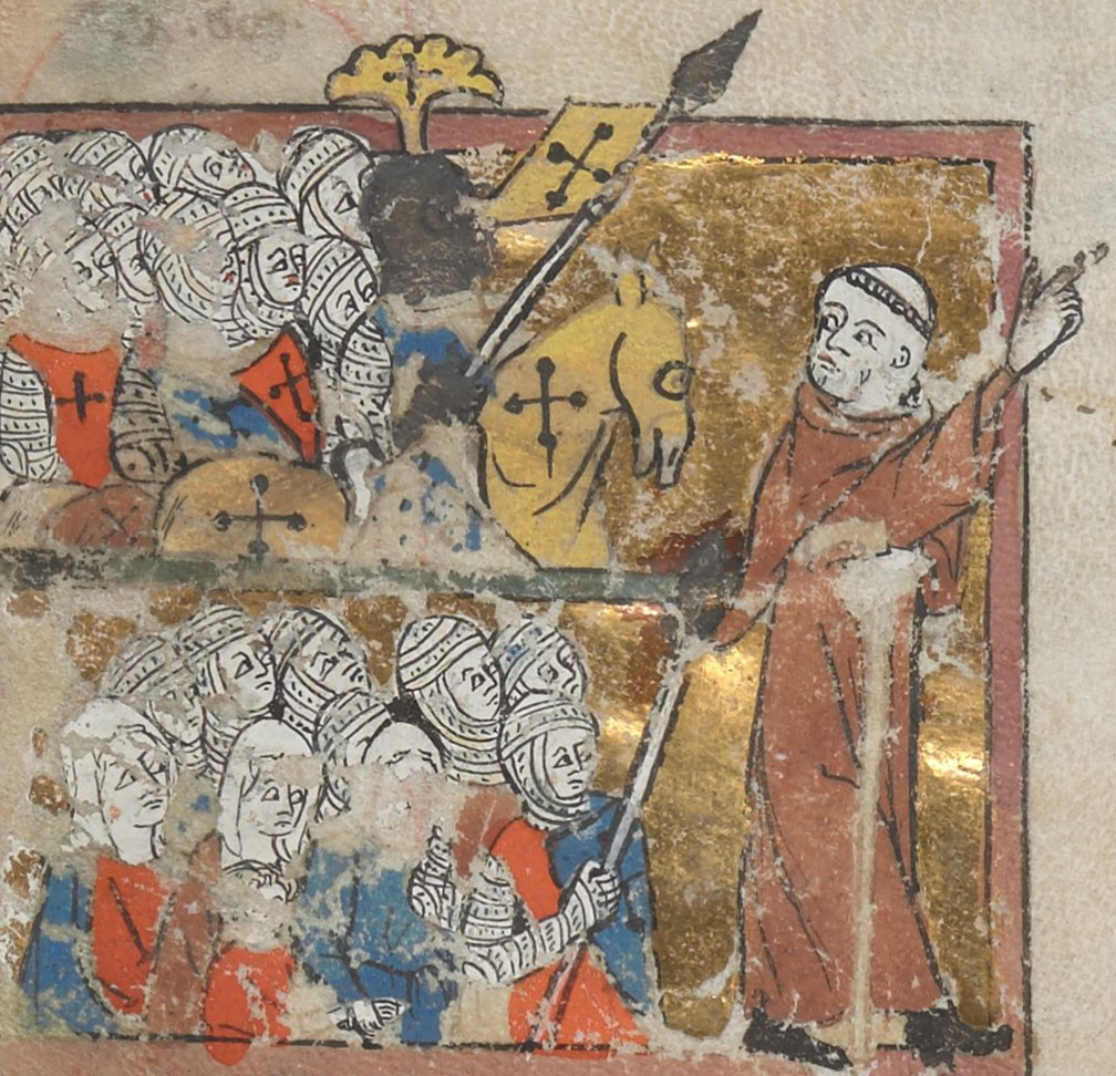 Miniature of Peter the Hermit leading the People's Crusade (Egerton 1500, Avignon, 14th century) Peter the Hermit.jpg