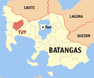 Map of Batangas showing the location of Tuy