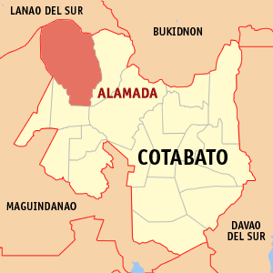 Map of Cotabato showing the location of Alamada
