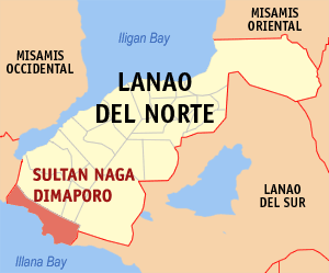 Map of Lanao del Norte showing the location of Sultan Naga Dimaporo