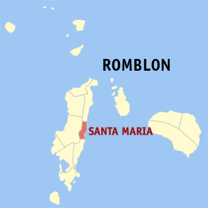 Map of Romblon showing the location of Santa Maria