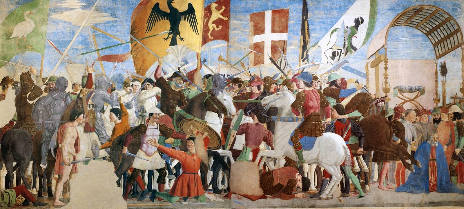 Piero della Francesca,Battaglia di Eraclio e Cosroè, affresco, 356 x 747 cm, Basilica di San Francesco, Arezzo
