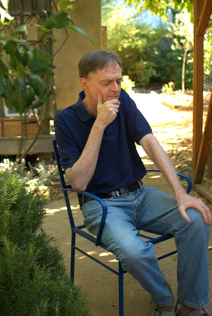 Heinberg in his garden in [[Santa Rosa, California