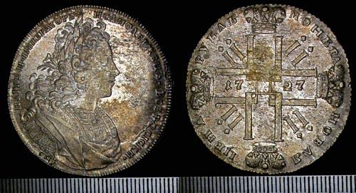 Рубль Петра II серебром. 1727