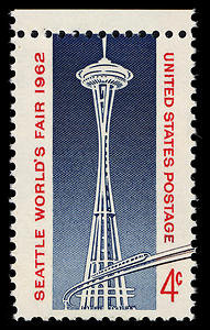 The Space Needle and Monorail depicted on this 1962 stamp