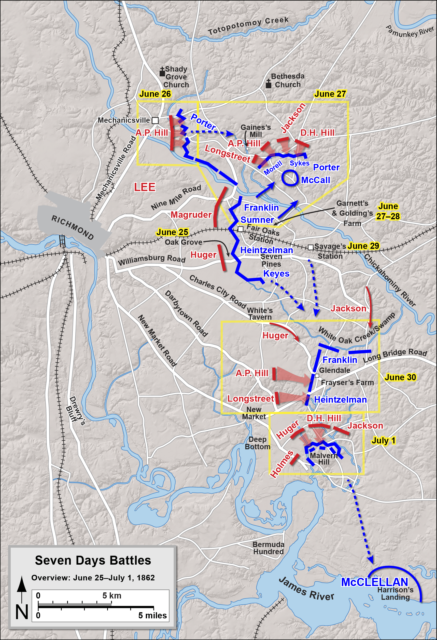 seven days battle Seven days' battles contributed by brian k burton the seven days' battles, fought june 25–july 1, 1862, were the decisive engagements of the peninsula campaign during the american civil war (1861–1865.