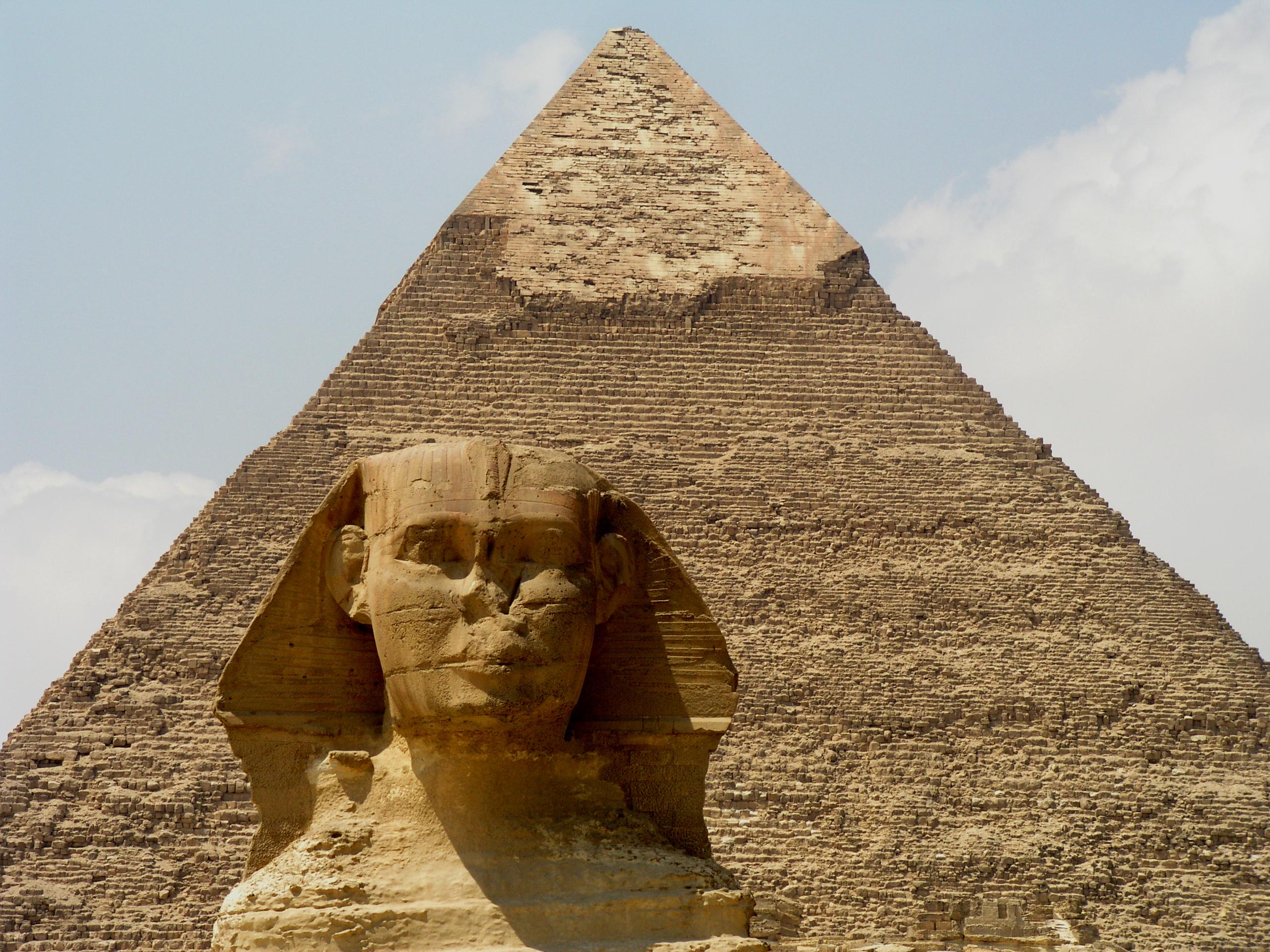 Great Sphinx, Chephren Pyramid, Giza, Egypt  № 2245231 загрузить