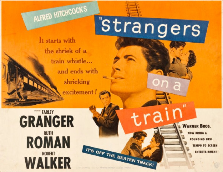Strangers on a train Hitchcock movie poster print