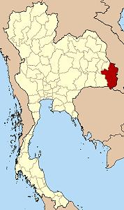 Map of Thailand highlighting Ubon Ratchathani Province}