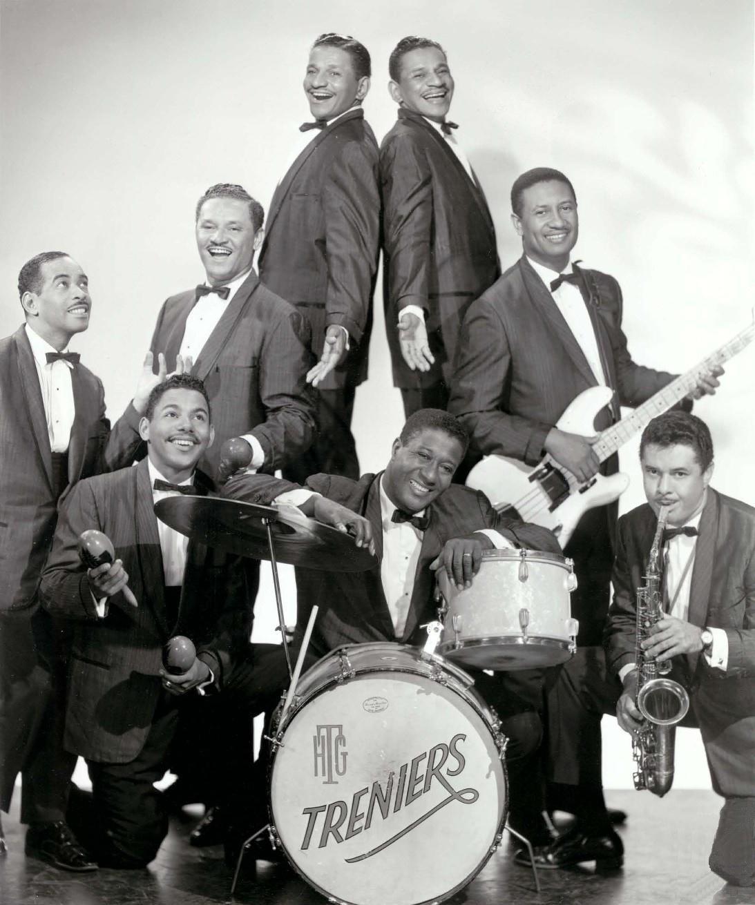 Late 1950s<br><small>Clockwise from left: Gene Gilbeaux (piano), Buddy Trenier, Cliff Trenier, Claude Trenier, Jimmy Johnson bass, Don Hill (sax), Henry (Tucker) Green (drums), Skip Trenier</small>
