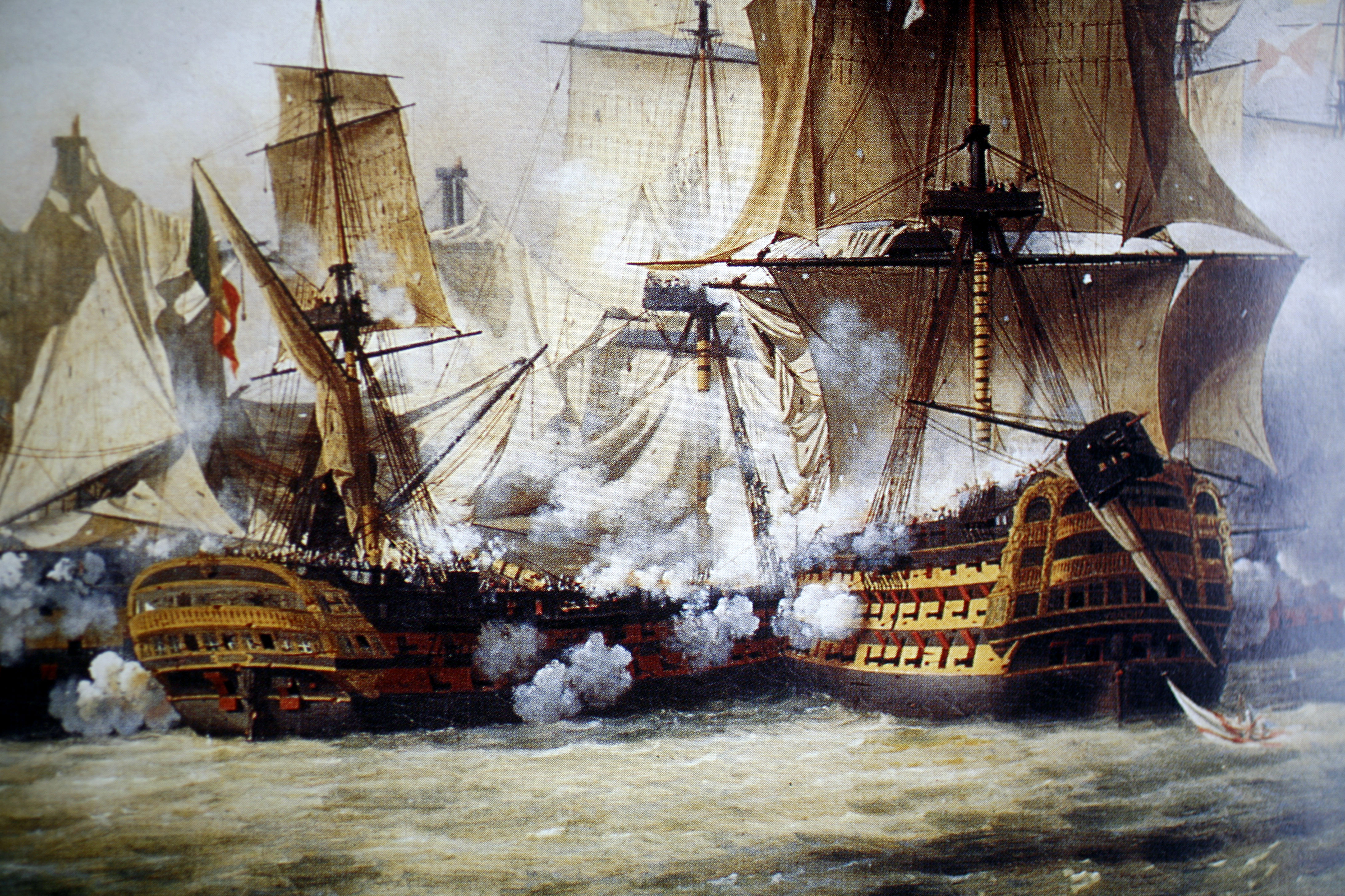 The Battle Between The Spanish Armada And The British Fleet In 1588