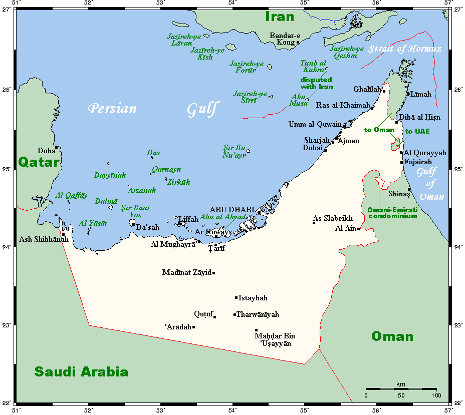 Geography Of The United Arab Emirates Wikipedia - United arab emirates map