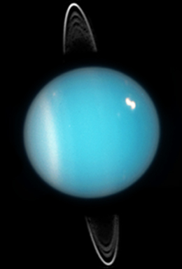 Uranus in 2005. Rings, southern collar and a bright cloud in the northern hemisphere are visible (HST ACS image). Uranus clouds.jpg