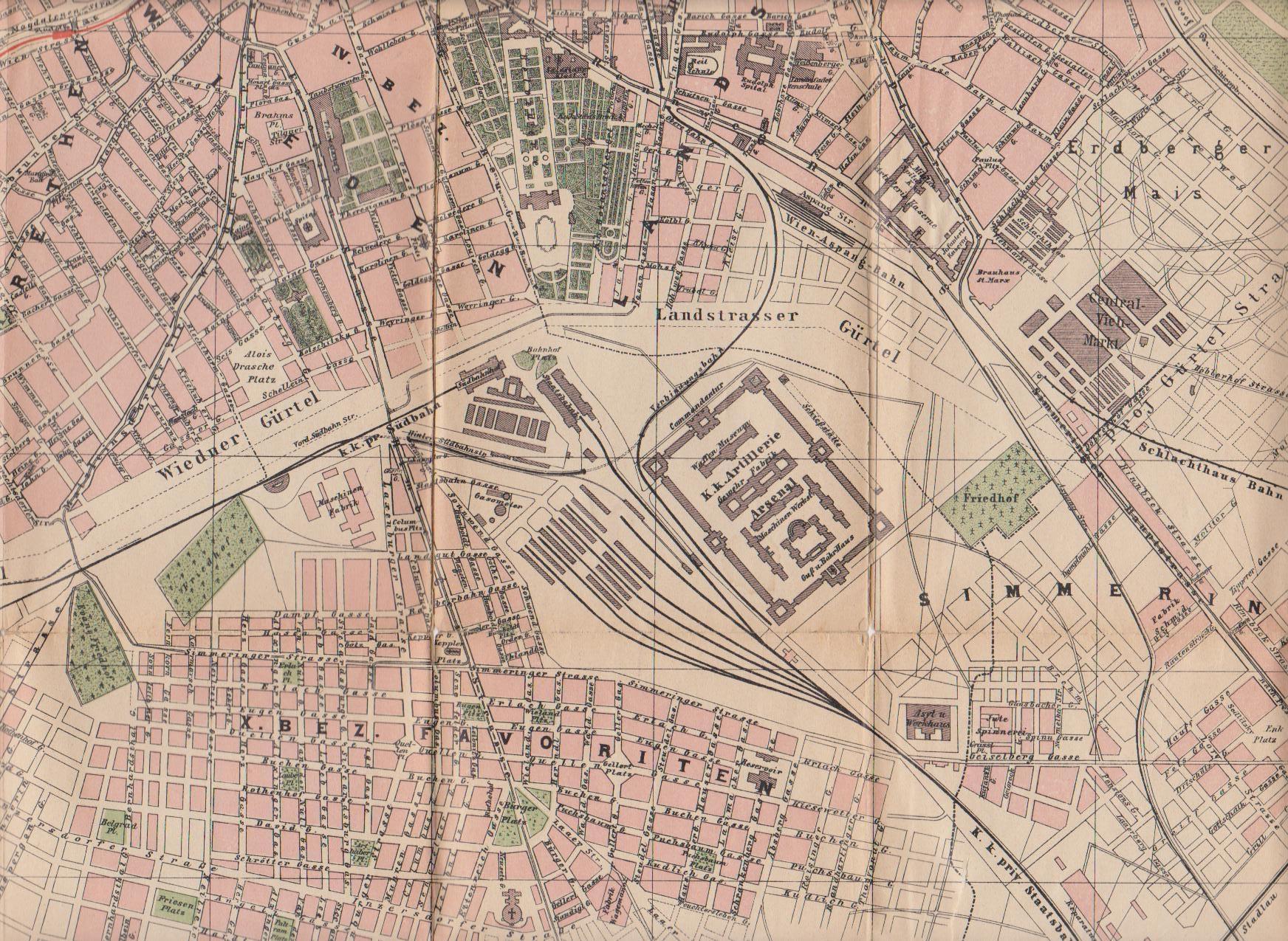 Stadtplan 1900: Ausbau und Regulierung des Wiedner und des Landstraßer Gürtels waren noch nicht abgeschlossen. Die projektierte Fortsetzung des Gürtels ...