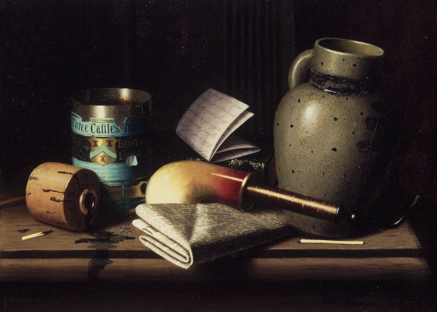 Still life painting by William Harnett made in 1880, depicting objects on a shelf,, from the left:  a used match, a toppled ink bottle with the stopper removed and ink  spilling, an open cylindrical tin of Three Castles  Tobacco, a folded handwritten document  on top of an embossed book (the book barely visible in the background), a clay tobacco pipe, a folded newspaper , a grey ceramic pitcher and an unused match  near the front right side esge of the shelf.