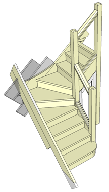 Example Of Winder Stairs With A Simple Handrail Supported By Three Newel  Posts