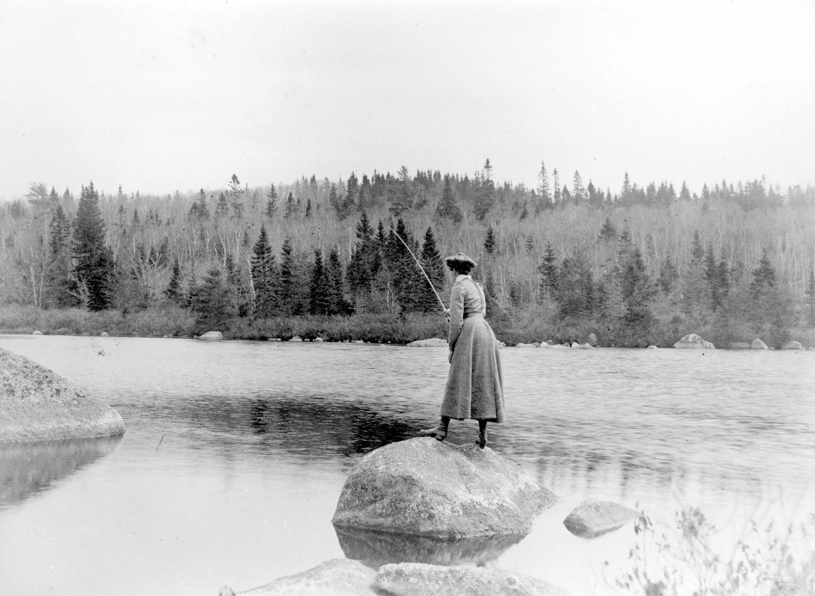 File woman fly fishing in nova scotia canada ca 1900 for Nova scotia fishing