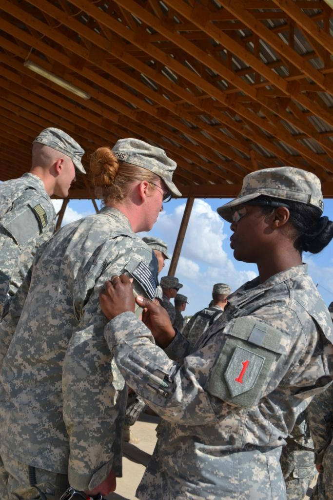 File:'Dragoon' Company soldiers receive combat patches