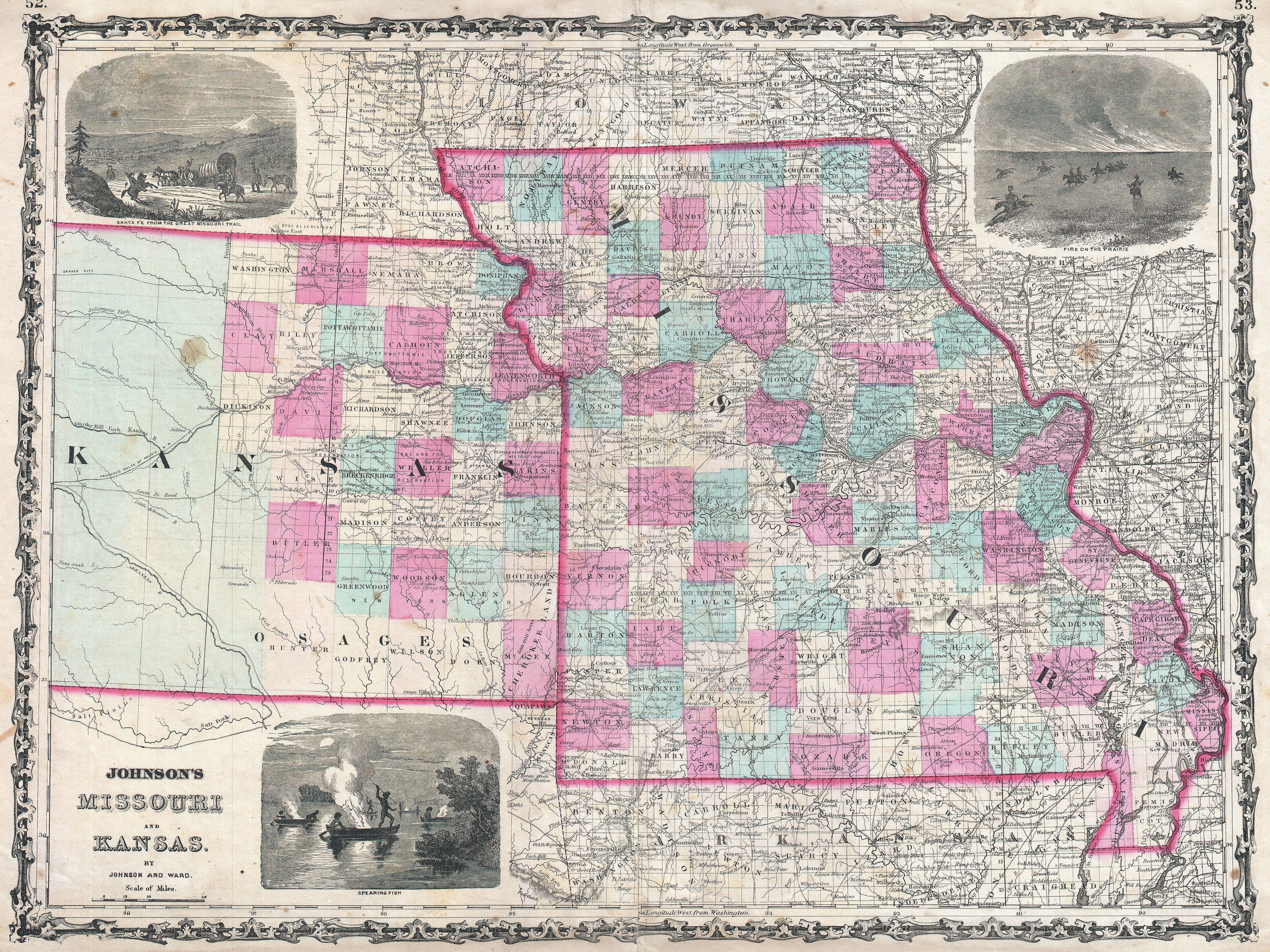 File:1862 Johnson Map of Kansas and Missouri - Geographicus - KAMO ...