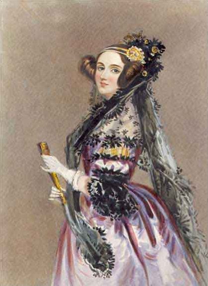 Ada Lovelace, whose notes added to the end of Luigi Menabrea's paper included the first algorithm designed for processing by an Analytical Engine. She is often recognized as history's first computer programmer. Ada lovelace.jpg