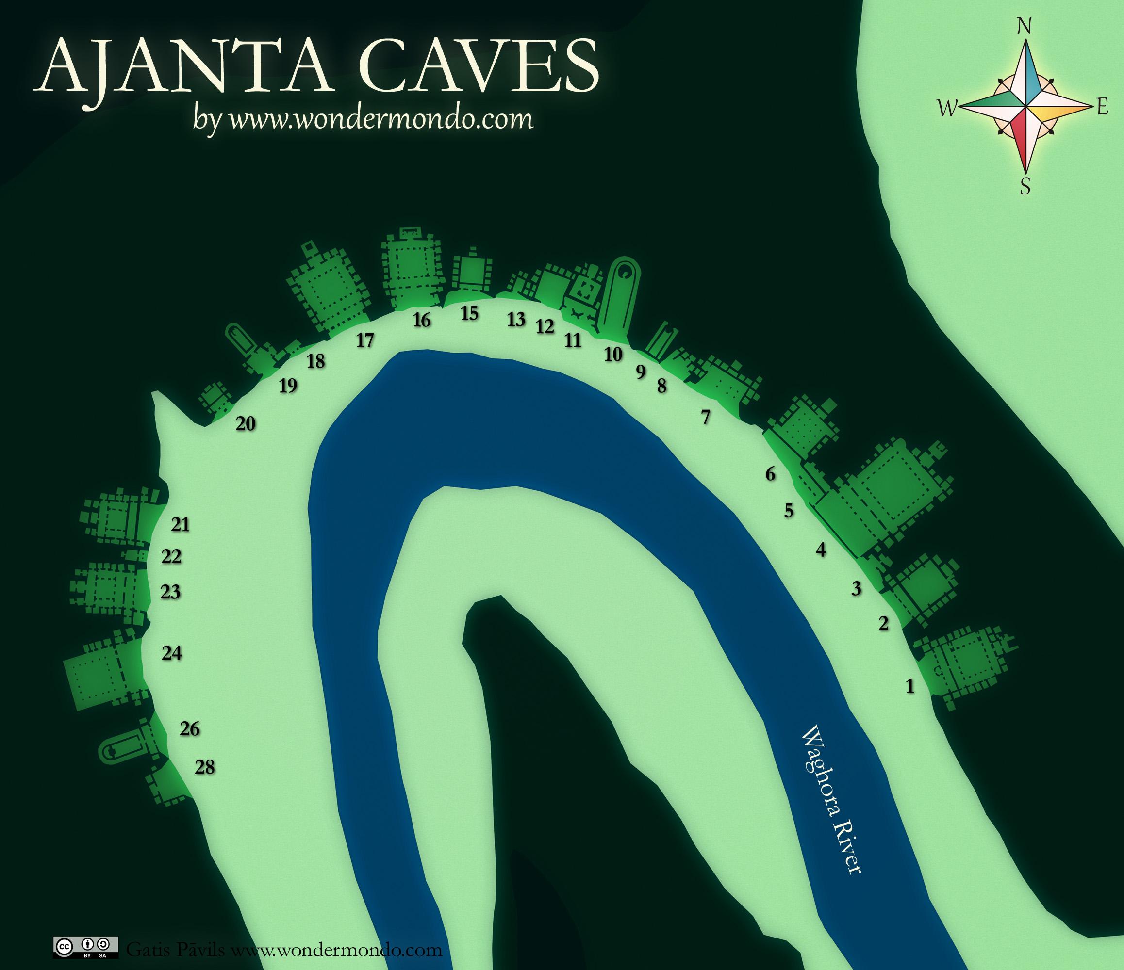 Ajanta Caves, map