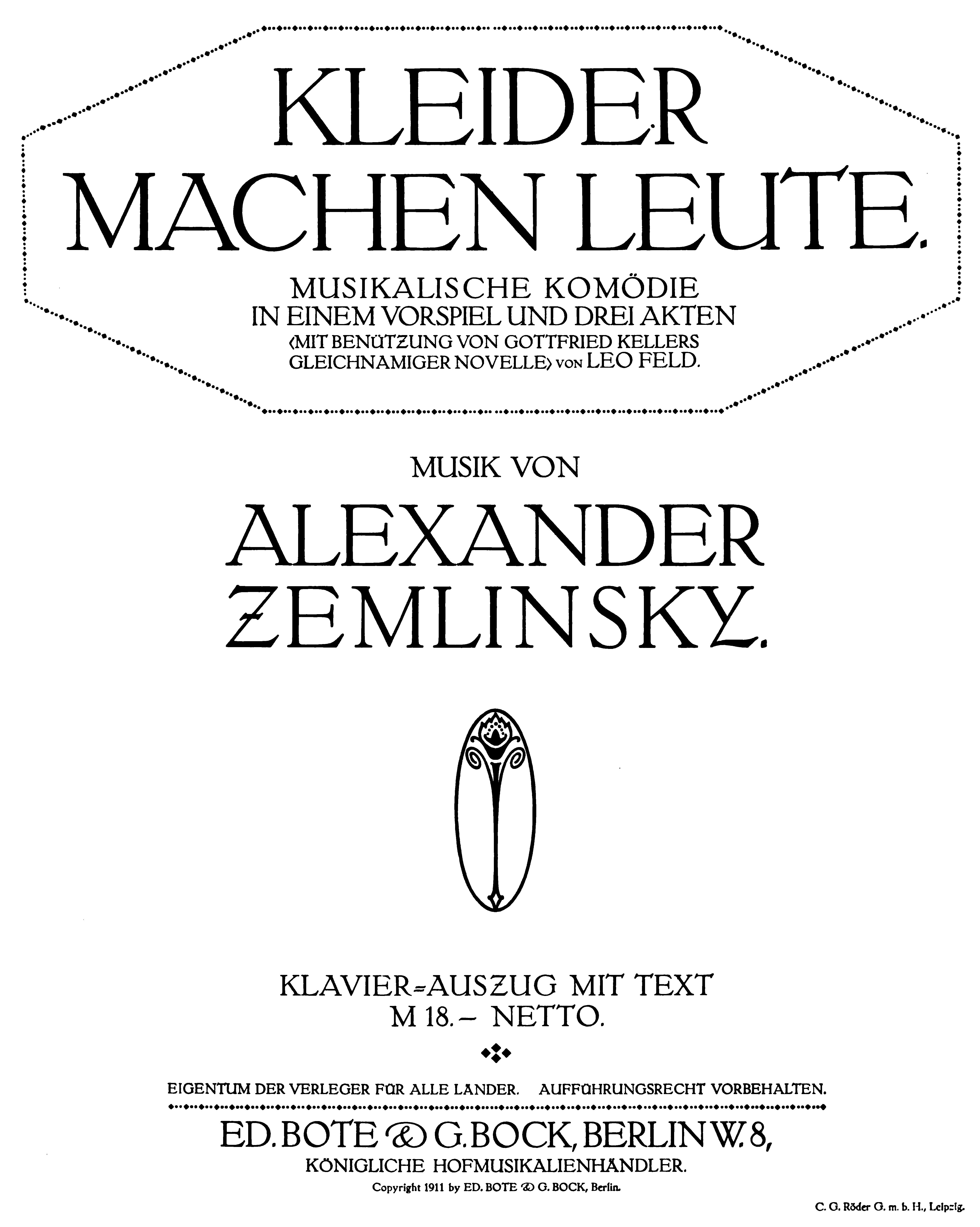 file:alexander zemlinsky - kleider machen leute - title page