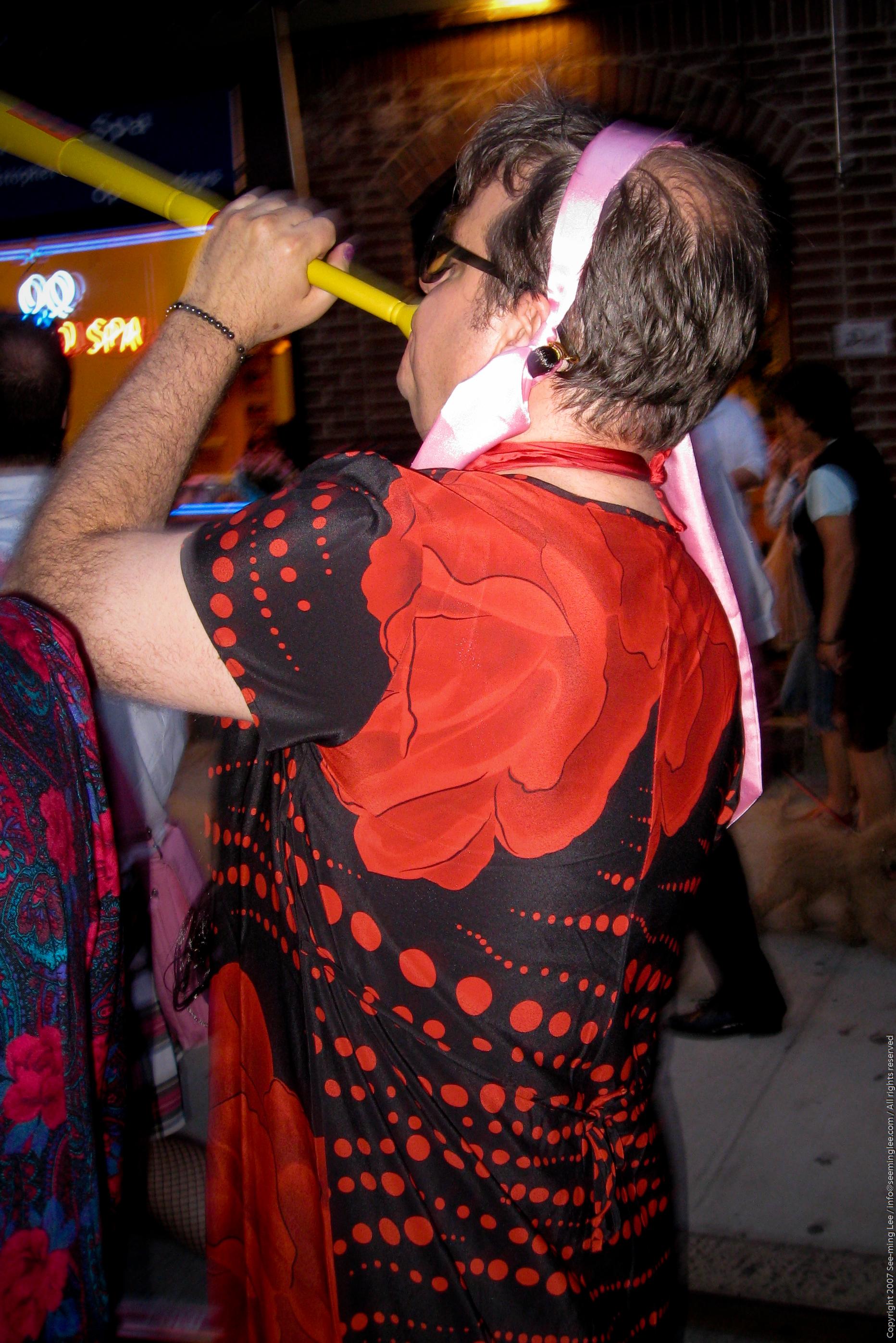 creativity happiness men makeup wig costume diversity red highlights highlight bestof gay gay pride new york 2007 pride 07 colorful Radical Faeries portrait