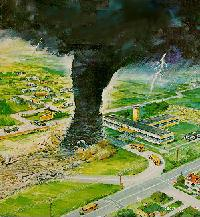 An artist's conception of a tornado disaster a...