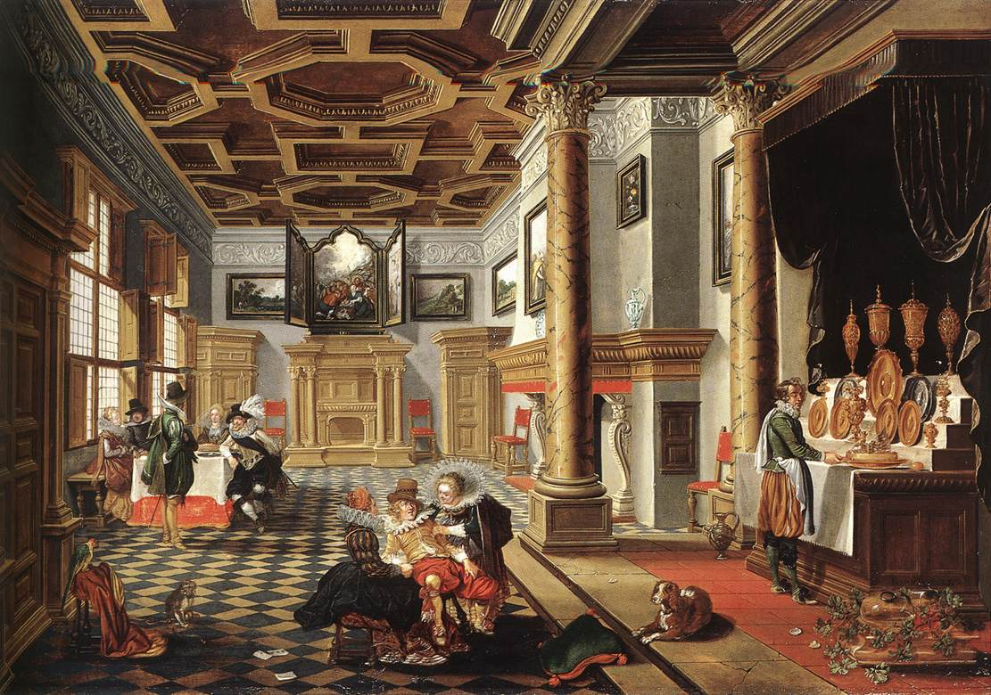 file bassen bartholomeus van renaissance interior with banqueters 1618 wikimedia commons. Black Bedroom Furniture Sets. Home Design Ideas