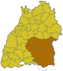 Map of Baden-Württemberg highlighting the  Regierungsbezirk of Tübingen