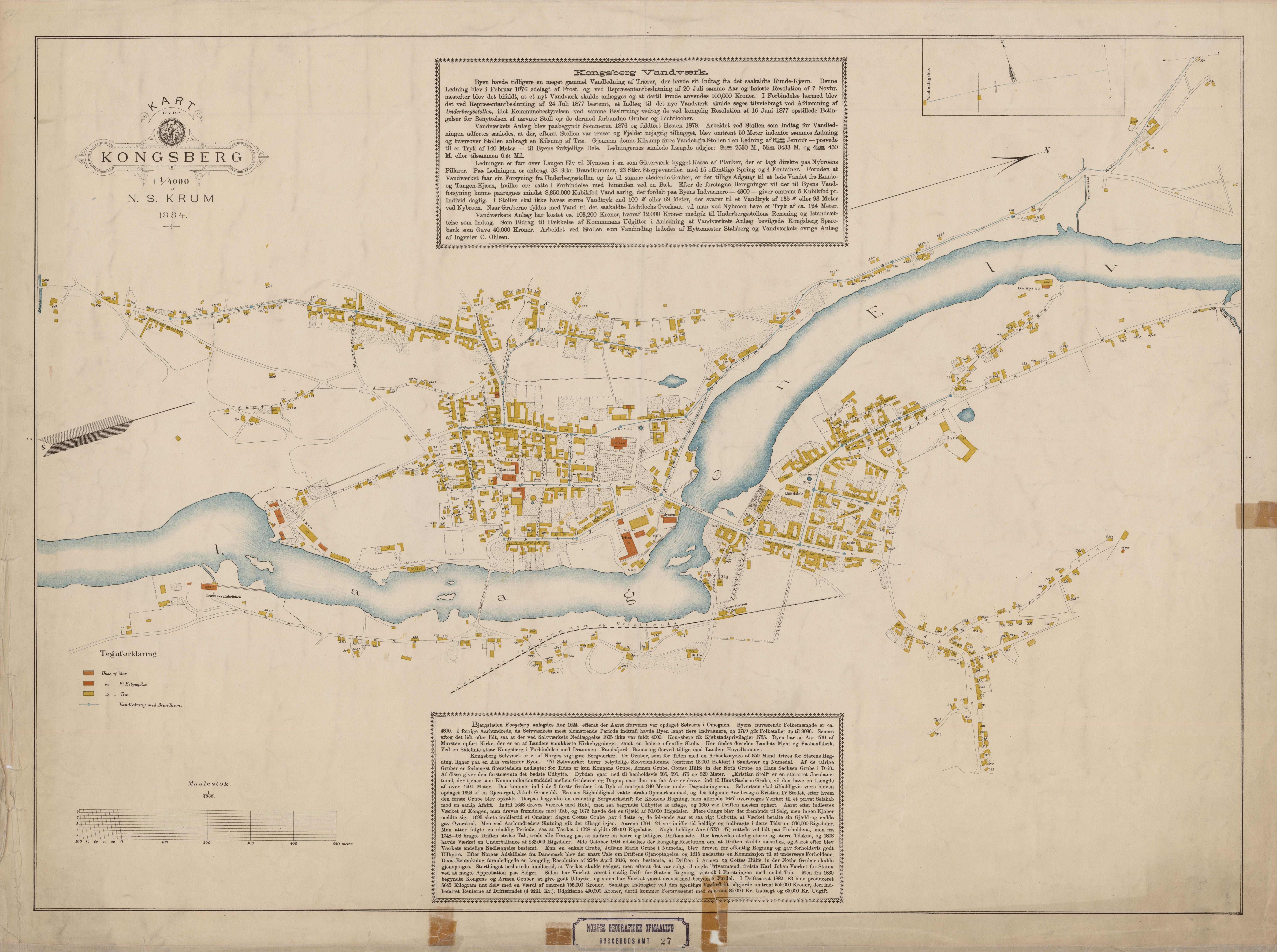 kongsberg kart File:Buskerud amt nr 27  Kart over Kongsberg, 1884.   Wikimedia  kongsberg kart