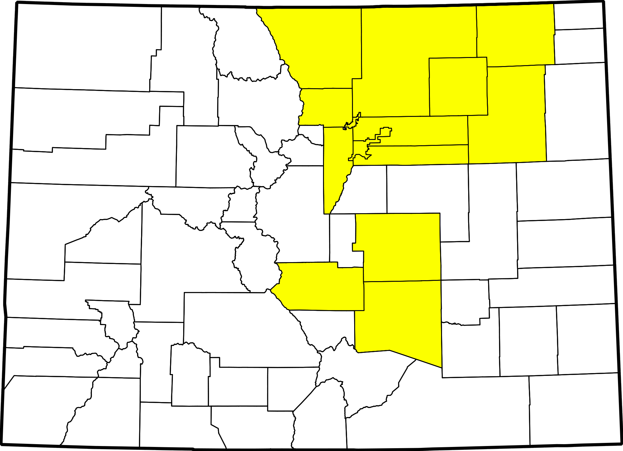 File Colorado County Map Highlighting 14 Counties Affected