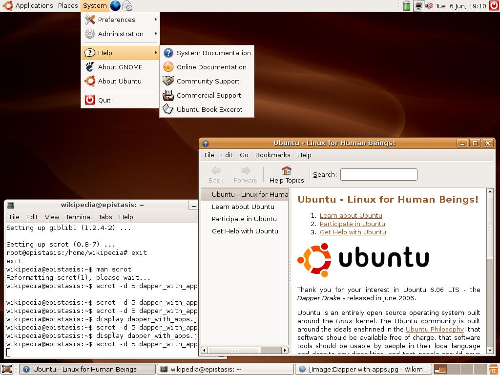 The default desktop of Ubuntu 6.06, Dapper Drake, the only release to miss the April release date.