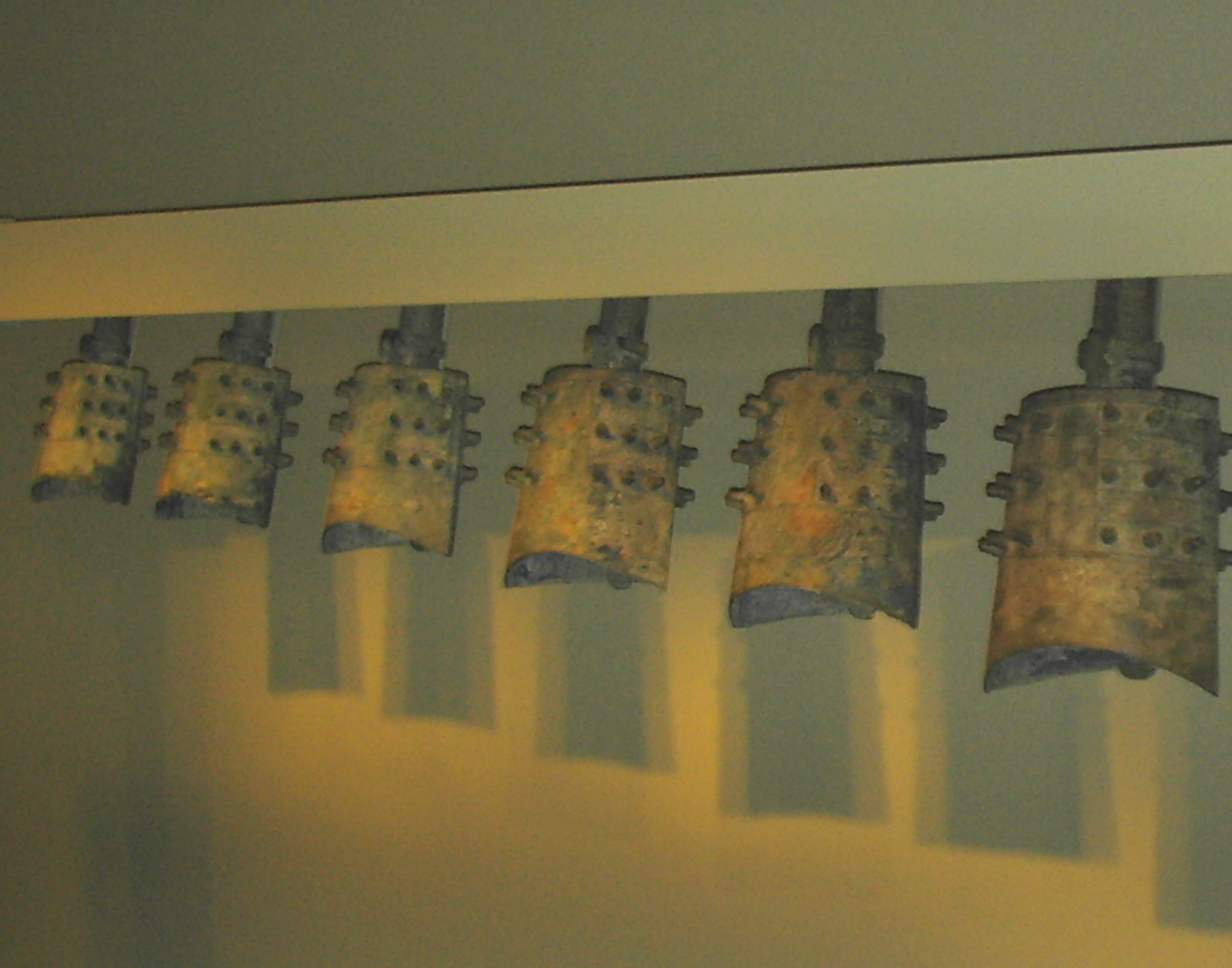 Ancient Chinese musical bronze bells from the Eastern Zhou Dynasty, c. 6th century BC.