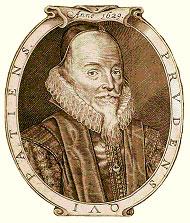 Een éénkleurig rond portret van Edward Coke, hem afgebeeld met een gerimpelde kraag.  Hij heeft een zwarte pet op zijn hoofd en een sikje