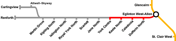 A map of the Eglington West Line.