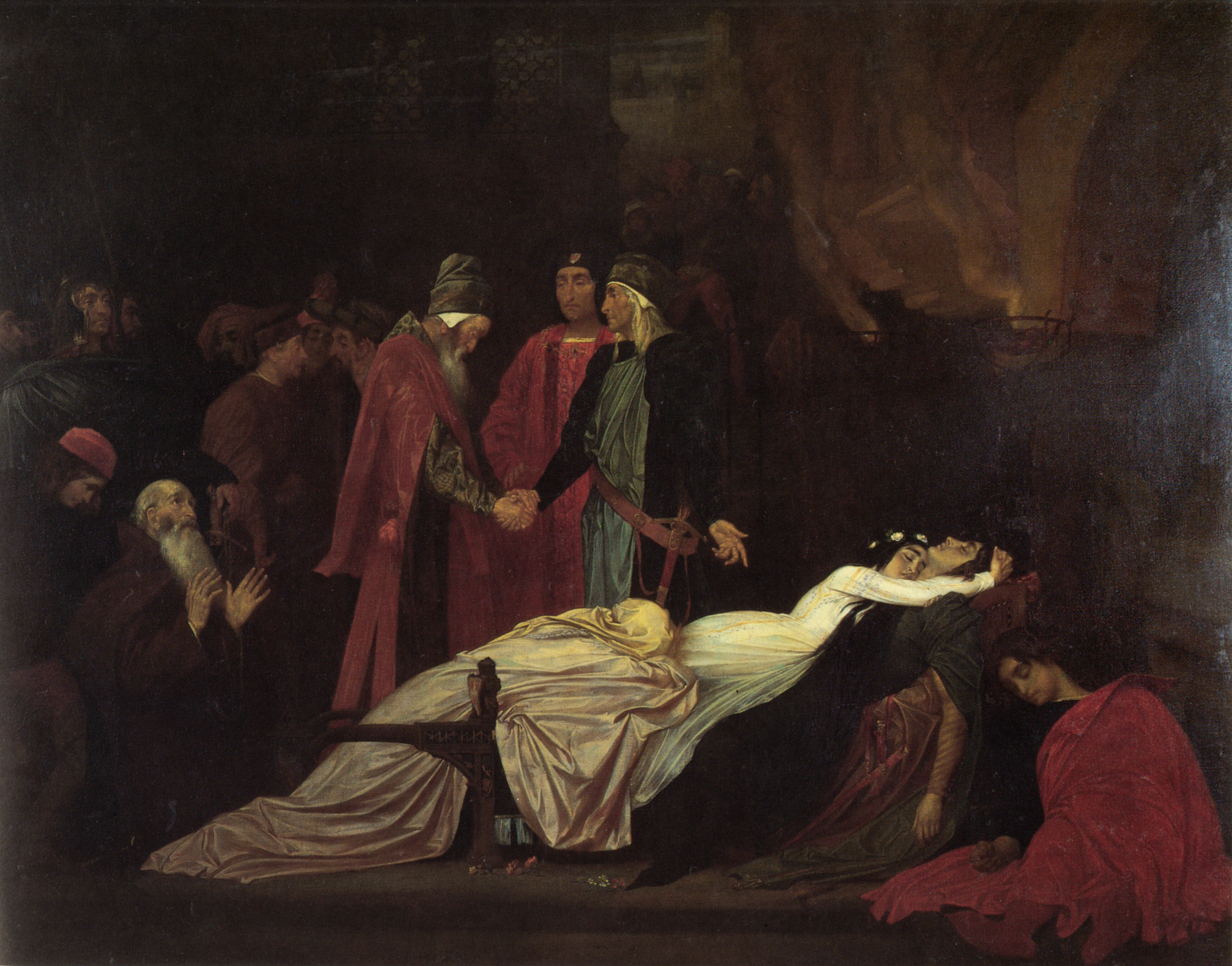 The Reconciliation of the Montagues and the Capulets over the Dead Bodies of Romeo and Juliet by Frederic Leighton