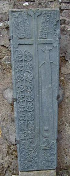 A hurling stick and ball feature on this gallowglasses gravestone, circa 15-16th century. Gallowglass gravestone.png