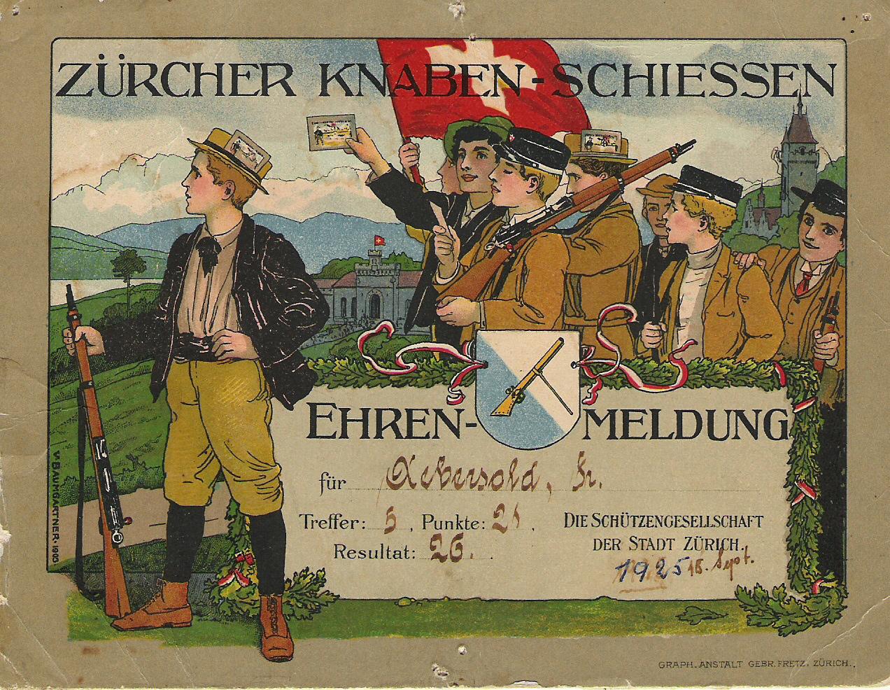 Diplom fra Zürcher Knabenschiessen i 1925