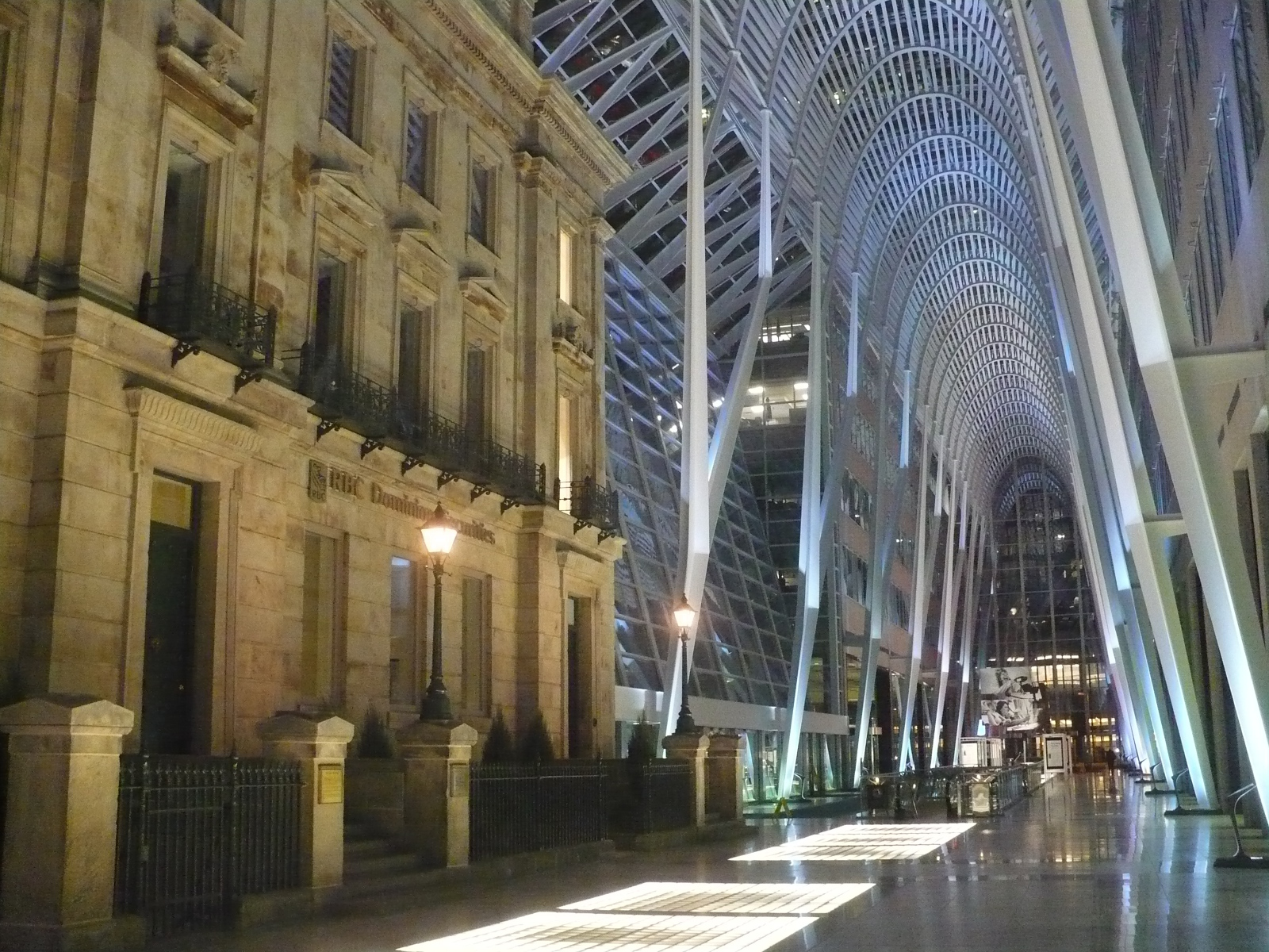 Allen Lambert Galleria is an atrium that connects Sam Pollock Square with the rest of the Financial District. A neo-futuristic design by Santiago Calatrava, ...