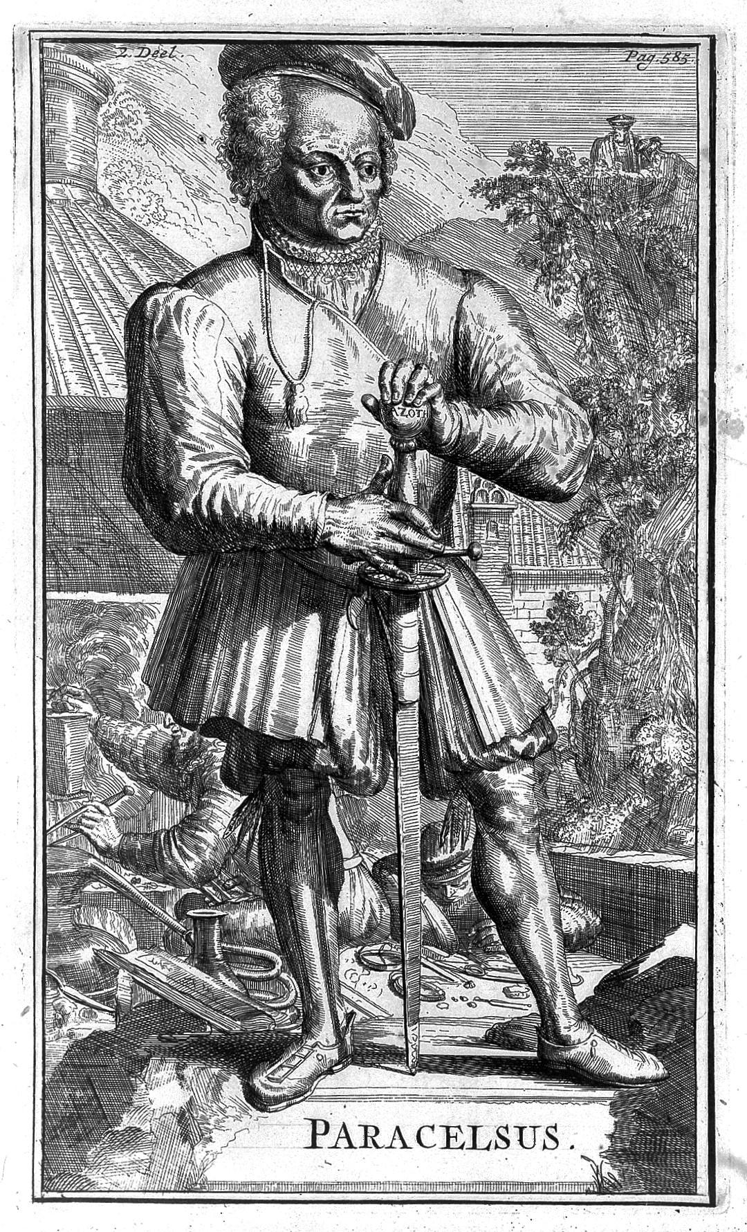 Paracelsus: File:Line Engraving; Portrait Of Paracelsus, Wellcome
