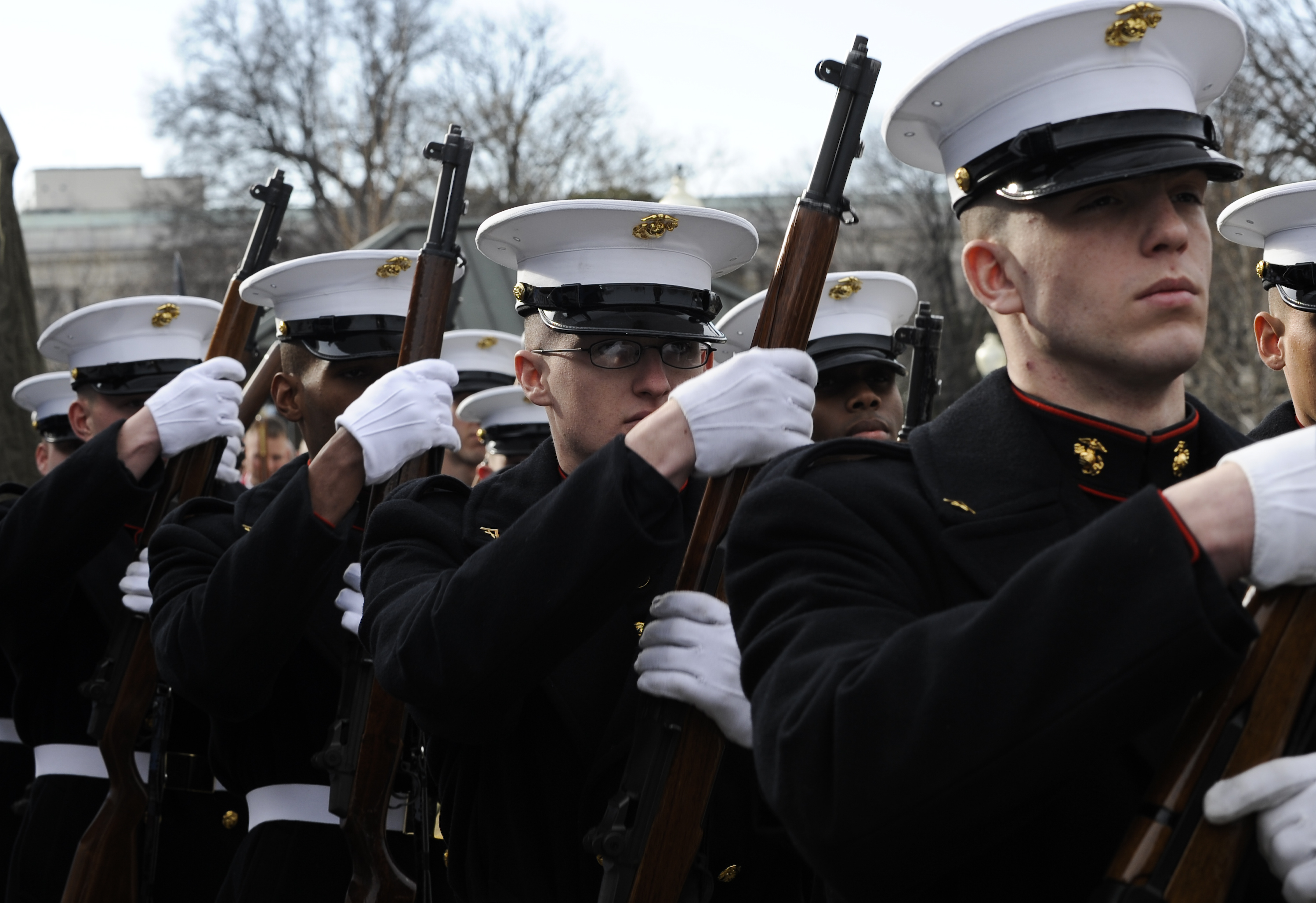 File:Members of the U.S. Marine Corps Honor Guard perform drill movements  outside the U.S.