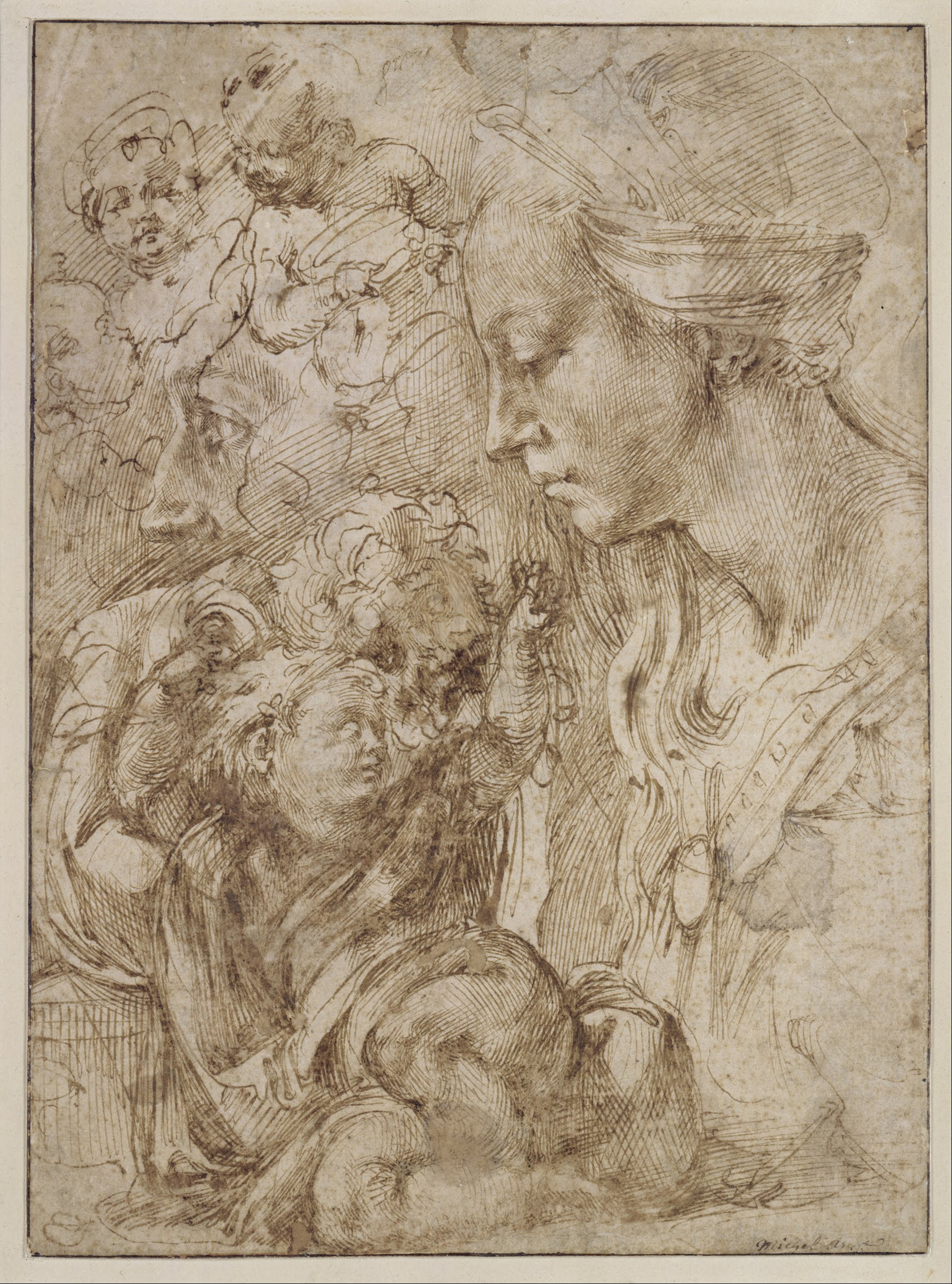File:Michelangelo Buonarroti - Studies for a Holy Family ...