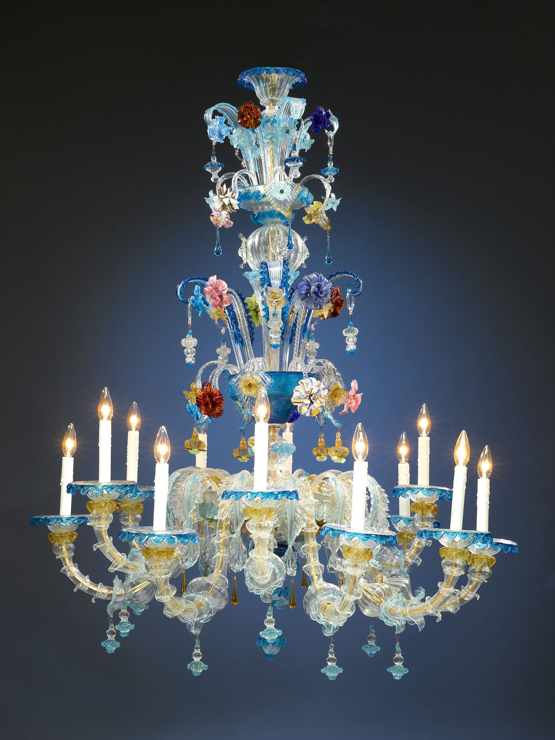 venetian glass nella in chandelier veneziani melissa light vetrina chandeliers blue murano