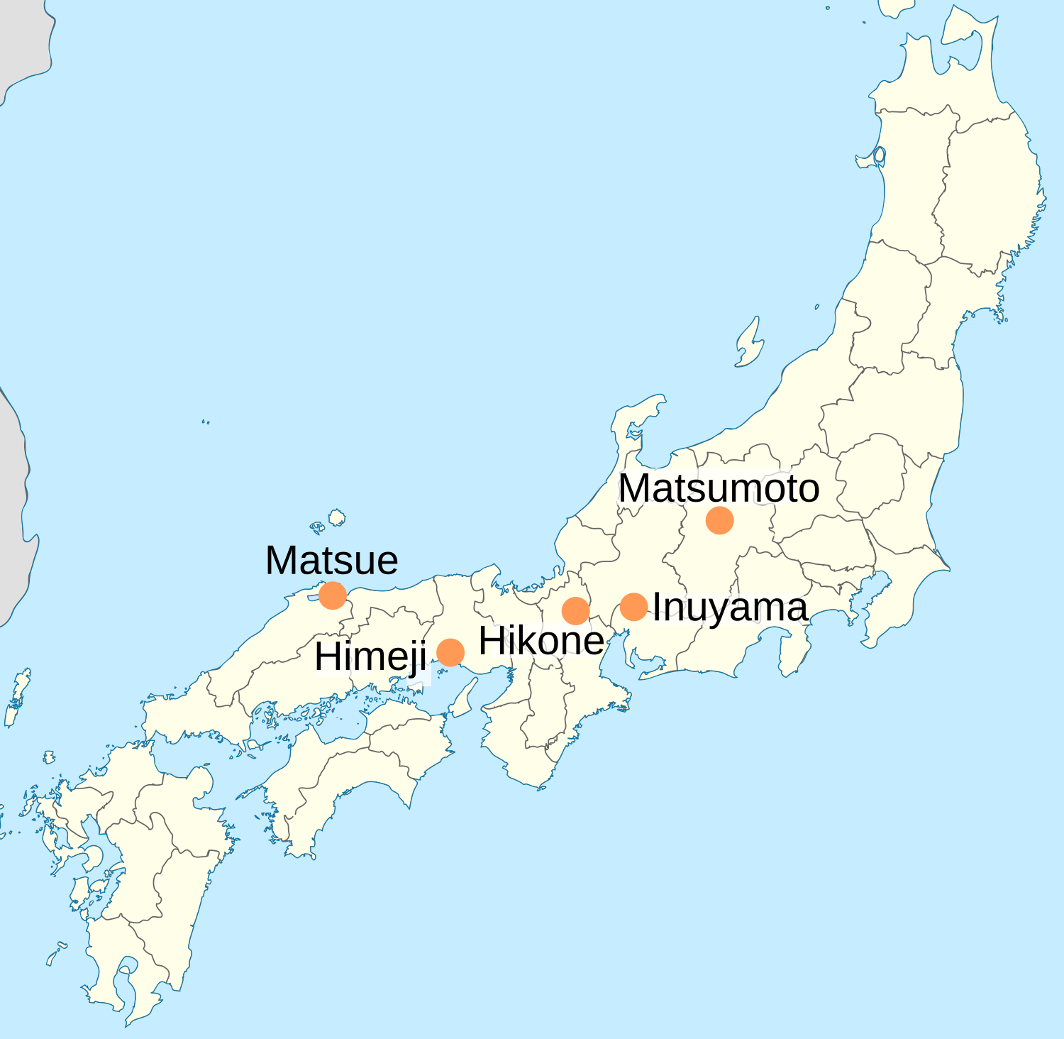 Labled Map Of Japan.File National Treasures Of Japan Castles Png Wikimedia Commons