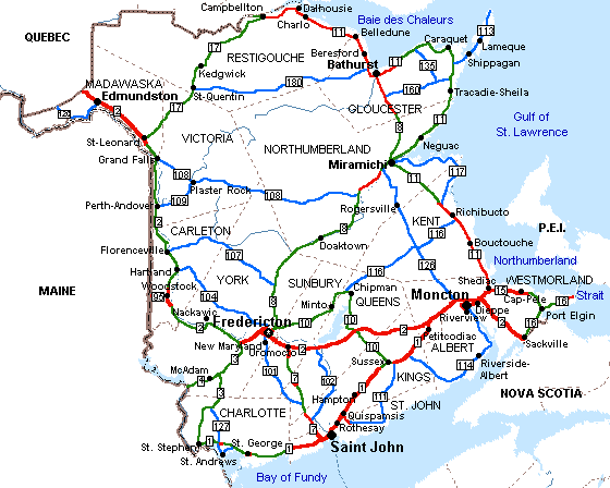 New Brunswick road map.png