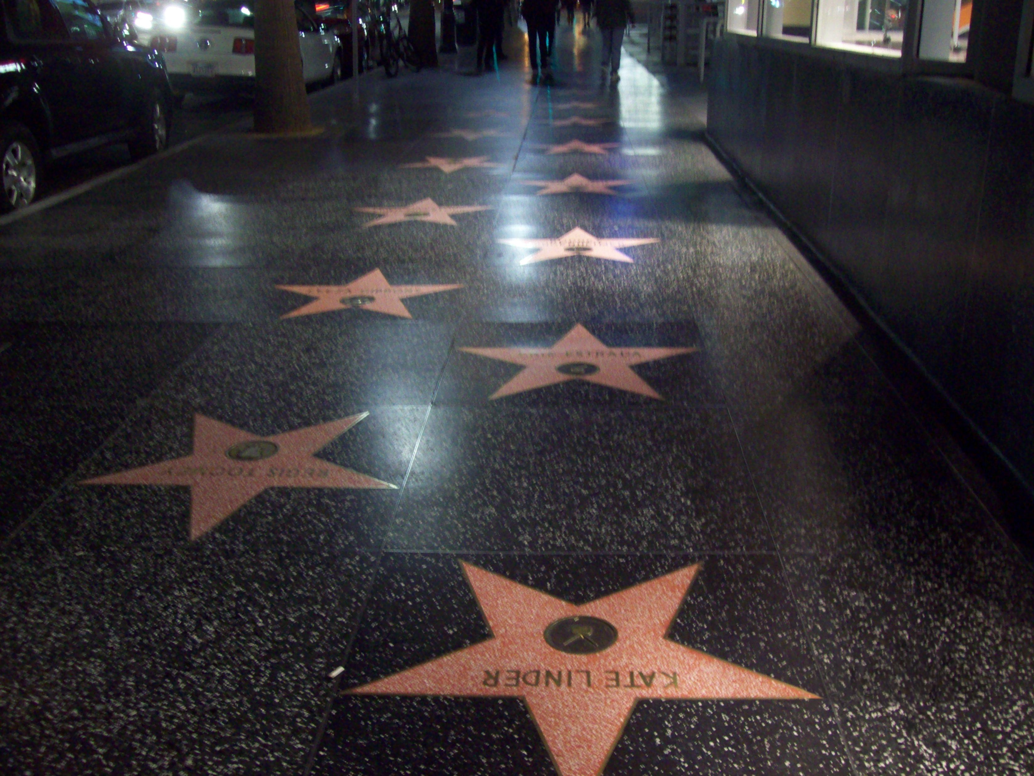 File Paseo De La Fama De Hollywood De Noche Jpg